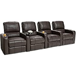 Seatcraft Millenia Home Theater Seating Power Recline Leather (Row of 4, Brown)