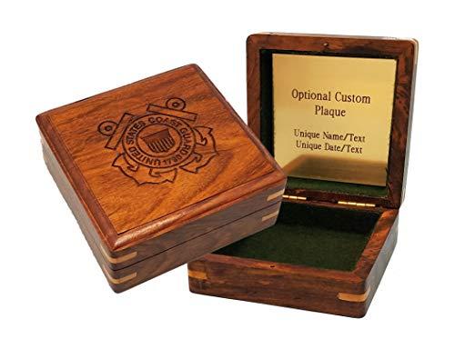 "Stanley London Engraved Military Keepsake Box – Coast Guard (Large 4"" x 4"", Personalized)"
