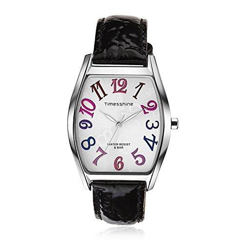 Dial Genuine Leather Band - ROADTEC Women's Casual Watch, 5ATM Waterproof Analog Quartz Wristwatch with Multicolor Dial and Genuine Leather Band (Black)