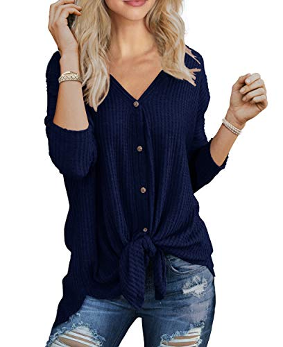IWOLLENCE Womens Waffle Knit Tunic Blouse Tie Knot Henley Tops Bat Wing Plain Shirts Navy Blue XL
