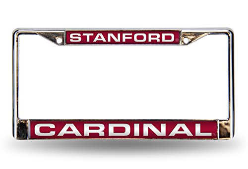 Rico Industries NCAA Stanford Cardinal Laser Cut Inlaid Standard Chrome License Plate Frame (Cardinals Frame Laser Chrome)