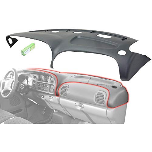Graphite Grey Molded Plastic Dash Pad Cover Overlay Fits 98-02 Dodge Ram Trucks ()