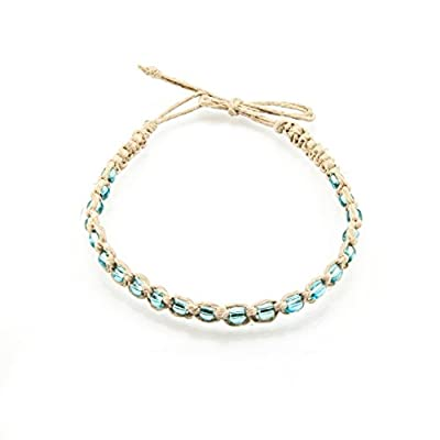 BlueRica Braided Hemp Cord Anklet Bracelet with Turquoise Blue Beads