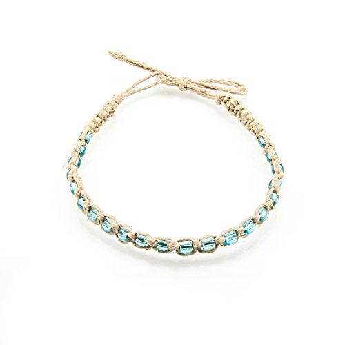 BlueRica Braided Hemp Cord Anklet Bracelet with Turquoise Blue -