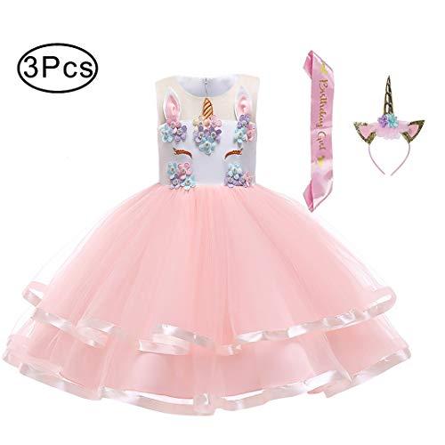 LZH Girl Unicorn Dress Birthday Christmas Party Cosplay Costume Dress 3PCS Hairband Pink Satin Sash