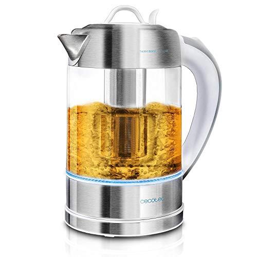 Cecotec Hervidor de Agua Electrico ThermoSense 370 Clear 1,7 litros, Libre de BPA, 2200 W de Potencia, Base 360º, Filtro Antical Desmontable, Doble Sistema de Seguridad, Acero Inoxidable