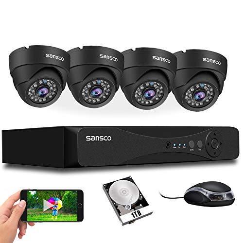 [TRUE 1080P] SANSCO HD CCTV Security Camera System, 4 Channel 5MP DVR with (4) 2MP In/Outdoor Dome Surveillance Cameras…