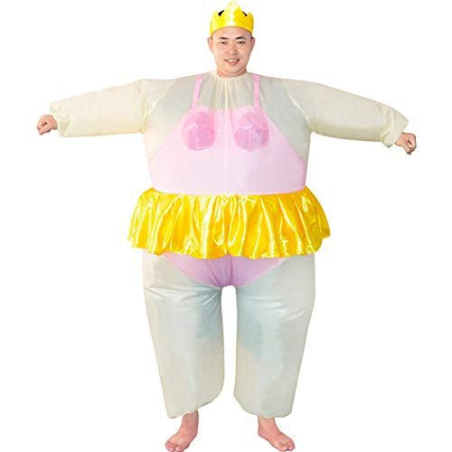 HUAYUARTS Inflatable Costume Ballet Game Cloth Adult Funny Blow up Suit Halloween Men's Costume Pink Cosplay, Plus Size]()