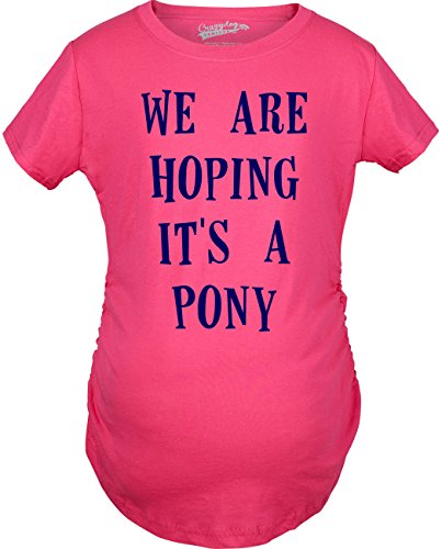 Crazy Dog TShirts - Women's We're Hoping It's A Pony Maternity T Shirt Funny Pregnancy Tee (Heather Pink) - Femme