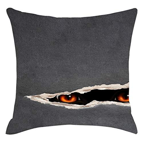 charmsamx Halloween Scary Shadow Pillowcase Horror Throw Pillow Covers Festival Decorative Pillowcases 18 x 18 Inch Gray Cushions Cover Soft Short Plush Square Pillow Cover