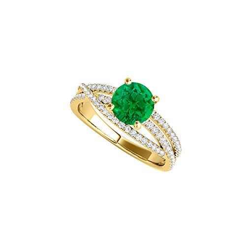 Emerald CZ Criss Cross Ring in 18K Yellow Gold Vermeil
