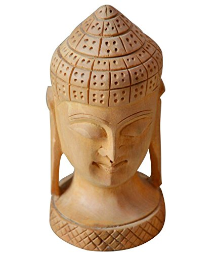 Wooden Authentic Meditating Buddha Face Sculpture Statue Fine Handicraft Collectible By Affaires ®. Religious Spirituality and Makes Elegant Christmas or Birthday Gift. W-40074