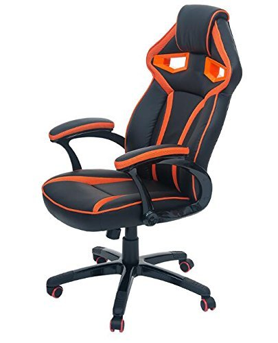Merax Stylish Devil's Eye Series High-Back Gaming Chair PU Leather and Mesh (Orange)