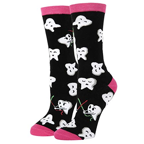 Women's Novelty Crazy Crew Dental Socks Funny Happy Teeth Patterned Socks in Black, Dentist Gift -