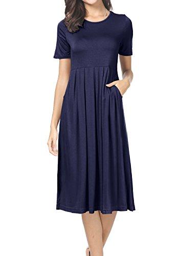- levaca Womens Summer Short Sleeve Pockets Casual T Shirt Tunic Dress Deep Blue L