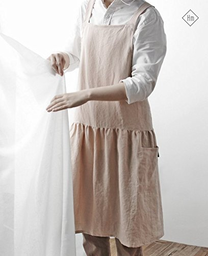 Cozymom Linen 100% Premium Gift Chef Works Handmade Apron Japanese style Cross back Shape Cotton APRON-5 colors (With pockets-Peach color) (Chef Style Apron)