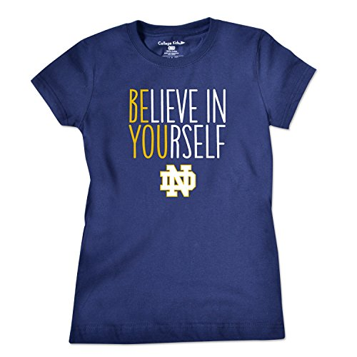 NCAA Notre Dame Fighting Irish Girls Short Sleeve Tee, Size 10-12/Medium, Navy