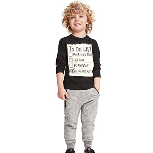 Fashion Casual 1Set Kids Toddler Boys Handsome Black Long Sleeve T Shirt Top Blouse Pants Sports Clothes (black, 6T) by Aritone - Baby Clothes (Image #1)