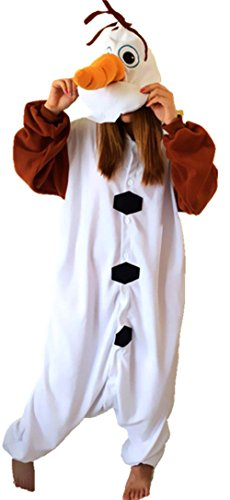 Sunrise Unisex Adult Olaf Anime Pyjamas Kigurumi Onesie Halloween Costume (Large) - Olaf Halloween Costumes Adult