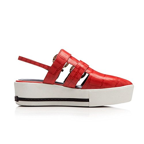 Summer Ligero 22 Tacones a Wedge 5cm Adulto Altos 24 Heel Señora Cuero Red Tamaño 0cm Heightening 4HPq4B