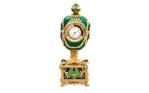 [Rose on a Clock Fabergé Style Musical Egg with Swarovski Crystals] (Rose Faberge Egg)