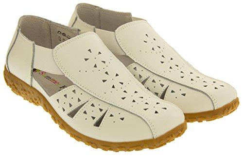 Coolers Mujer Cuero Cerrado de los Pies Sandalias del Verano Blanco