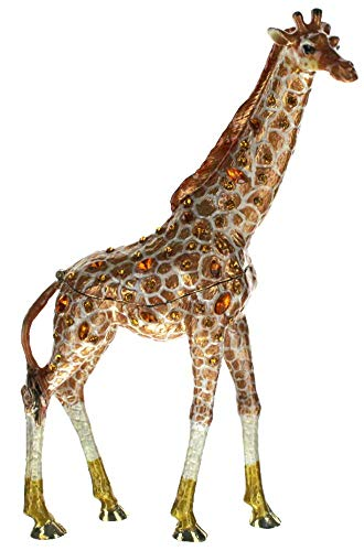 - Tall Standing Giraffe Trinket Box, Topaz Swarovski Crystal, Hand Painted Brown & White Enamel Over Pewter, Inside of Box with Lovely Enamel, L 3.75 X H 7.00 X W 1.50