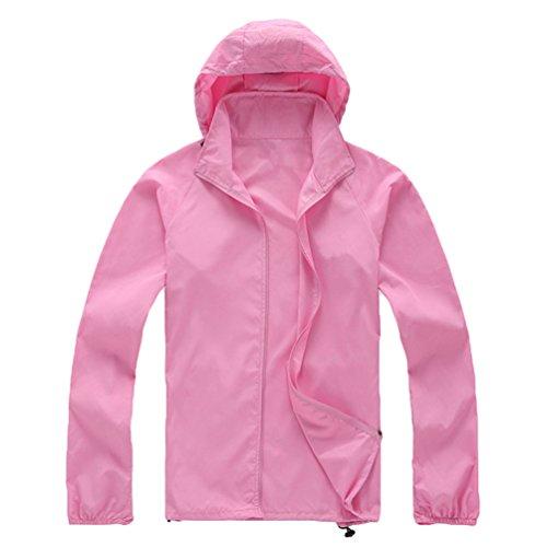 ZKOO Mujer Hombre al Aire Libre Chaqueta Softshell con Capucha Unisex de la solapa de Chaqueta Cazadora Ultraligeros Impermeable Rosa