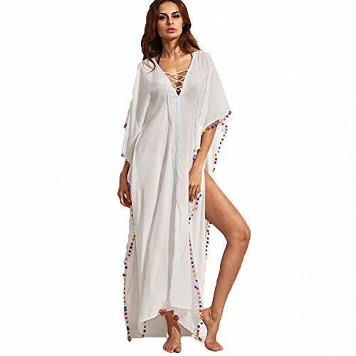 Criss Trim Cross Dress (Melory 2018 Newest Arrival Women's Sexy Crisscross V Neck colorful Tassel Trim Kaftan Maxi Dress Beach Dress Long Cover Up)