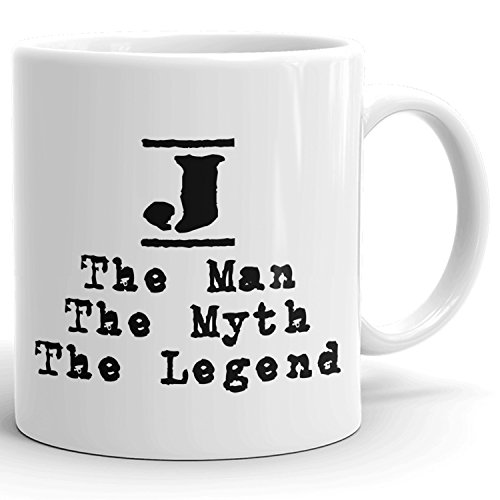 Best Personalized Mens Gift! The Man the Myth the Legend - Coffee Mug Cup for Dad Boyfriend Husband Grandpa Brother in the Morning or the Office - J Set 2