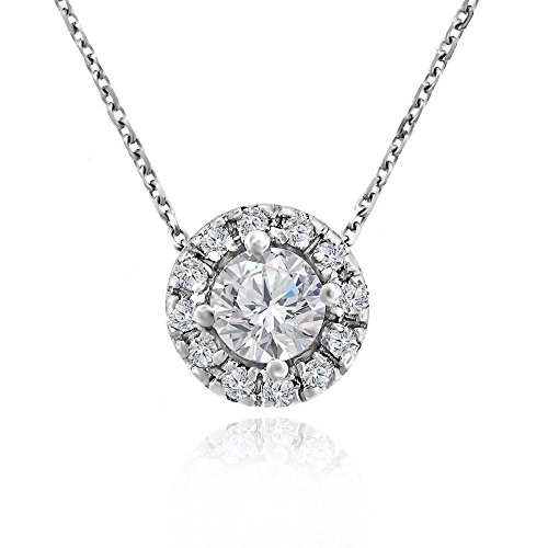 Voss+Agin Womens Genuine Diamond Halo Pendant Necklace (.50 CTW) in 14k White Gold, 16'' ()