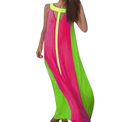 Howstar Long Dress, Women Maxi Sleeveless Multi-Color Summer Beach Stitching Dress
