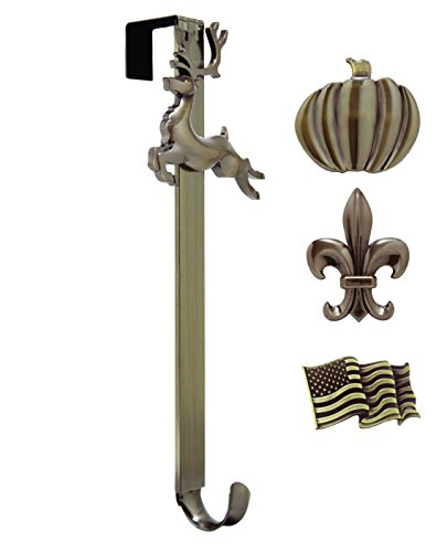 Adjustable Length Wreath Hanger with Interchangeable Icons (Oil Rubbed Bronze-Flag/Reindeer/Pumpkin/Fleur de - Icons Metal
