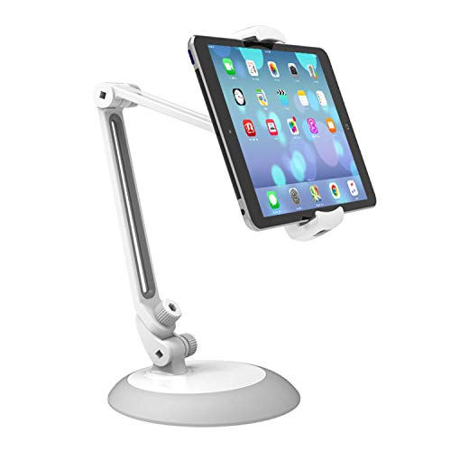 Universal Adjustable iPad Mount/iPad Holder/iPad Stand with Metal Base, Fits 4-10.5 Inch Display Tablets and Phones for Desk, Table, Kitchen, Office
