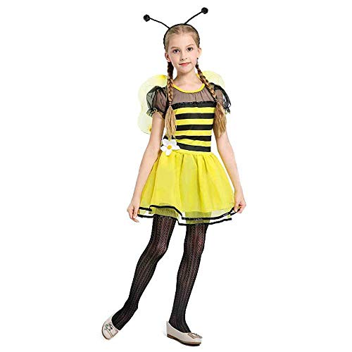 Big Girls Bee Costume Kids Children Fairy Fancy Dress Black Yellow Stripe Dress Tween Halloween Carnival Party Costume (Yellow, M(8)) -