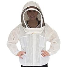 Ultra Breeze Medium Beekeeping Jacket with Veil, 1-Unit, White