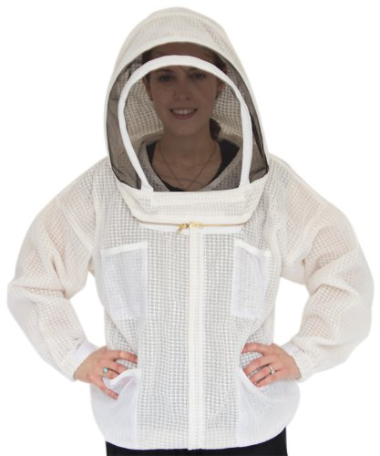 Ultra Breeze Large Beekeeping Jacket with Veil, 1-Unit, White