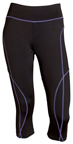 Sportoli Women Active Workout Compression Base Layer Capri Leggings Tights Pants - Black/Purple (Large)