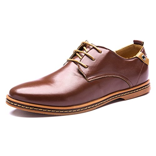 Maybest Heren Business Casual Lace Up Oxford Derby Glad Leer Hoogte Toenemende Puntschoen Schoenen Bruin