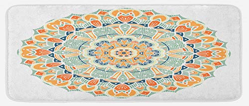 Lunarable Mandala Kitchen Mat, Ethnic Style Traditional Pattern Cosmos Symbol Geometric Ornamental Motif, Plush Decorative Kitchen Mat with Non Slip Backing, 47 W X 19 L Inches, Orange Mint ()