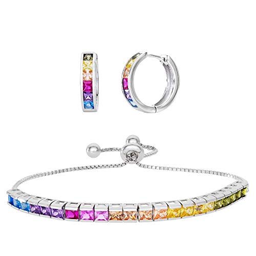 Diamoness Sterling Silver Lariat Bracelet and Endless Huggie Hoop Earrings Multi Colored Set with Rainbow Cubic Zirconia ()