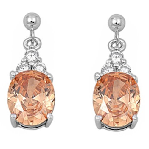 Champagne Color Cubic Zirconia Stone - Sterling Silver Dangling Simulated Gemstone & Cubic Zirconia Earrings Birthstone Colors Available! (Champagne Cubic Zirconia)