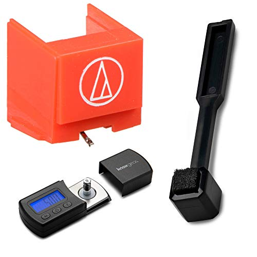 Audio-Technica ATN91R Replacement Conical Stylus for AT91R with Knox Gear Digital Turntable Stylus Scale and Stylus Cleaning Brush from Audio-Technica