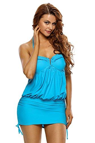 Lalagen-Womens-Halter-Ruched-Swimsuit-Push-Up-One-Piece-Beachwear-Swim-Dress