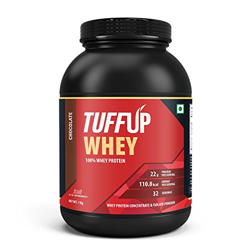 Tuff Up 100% Whey Protein - 1 kg (Chocolate), 22g protein per serving, made from imported whey