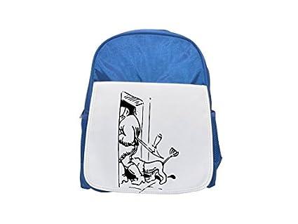 Wilhelm Busch del pelo Bolsa Printed Kid 's Blue Backpack, Cute de mochilas