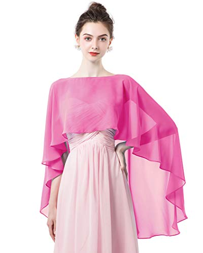 Women Shawl Wrap Wedding Capes Sheer Chiffon Shrug for Dresses Cover Up Rose (Accessories Wedding Pink)
