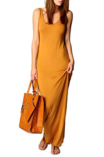 Womens Orange Tank Dress (YMING Women's Casual Sleeveless Tank Top Long Maxi Dress Orange L)