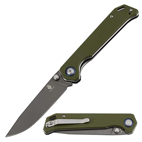 KIZER Knives Pocket Knife with Clip Green G10 Handles Material EDC Folding Knife, Begleiter - Folding Edc Knife