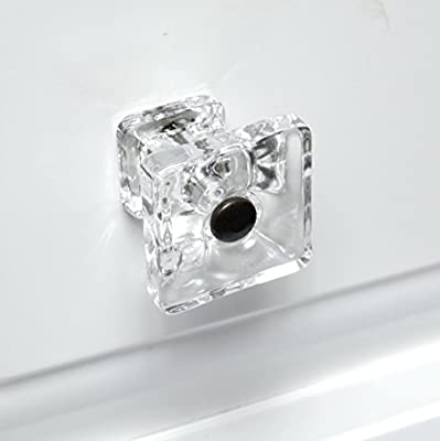 Girl Drawer Knobs, Glass Dresser Handles or Modern Kitchen Cabinet Pulls T115MN Clear Square Knobs with Oil Rubbed Hardware. Romantic Decor & More